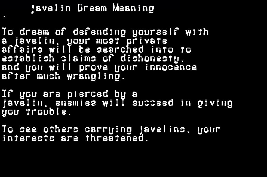 dream meanings javelin
