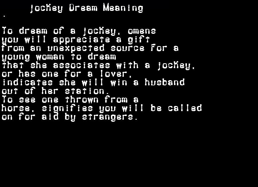 dream meanings jockey
