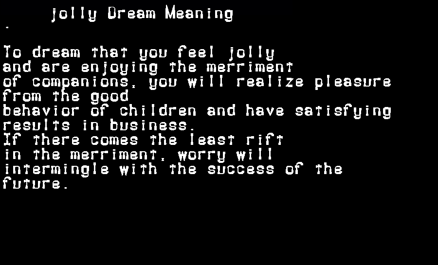 dream meanings jolly