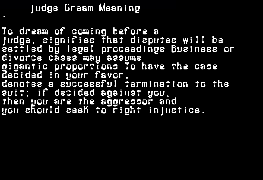 dream meanings judge