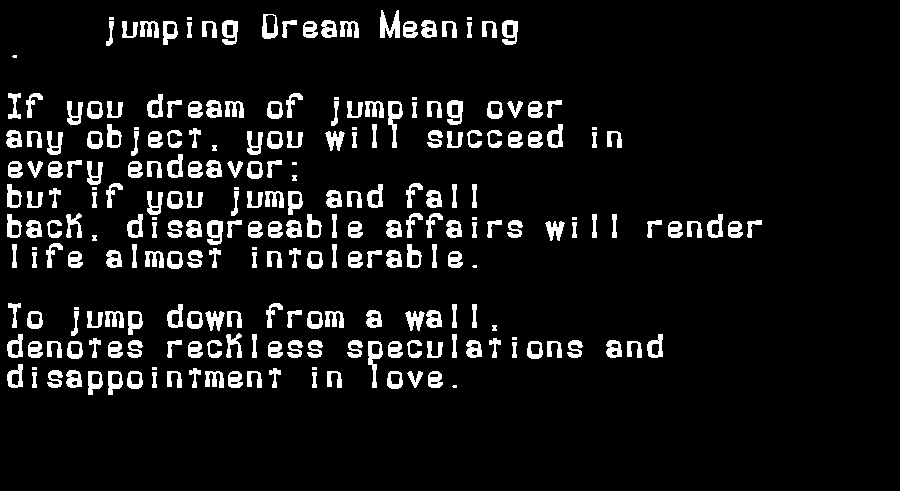 dream meanings jumping