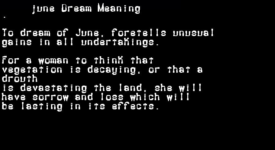dream meanings june