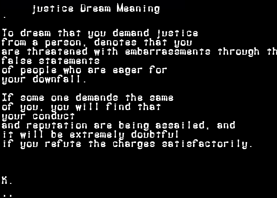 dream meanings justice
