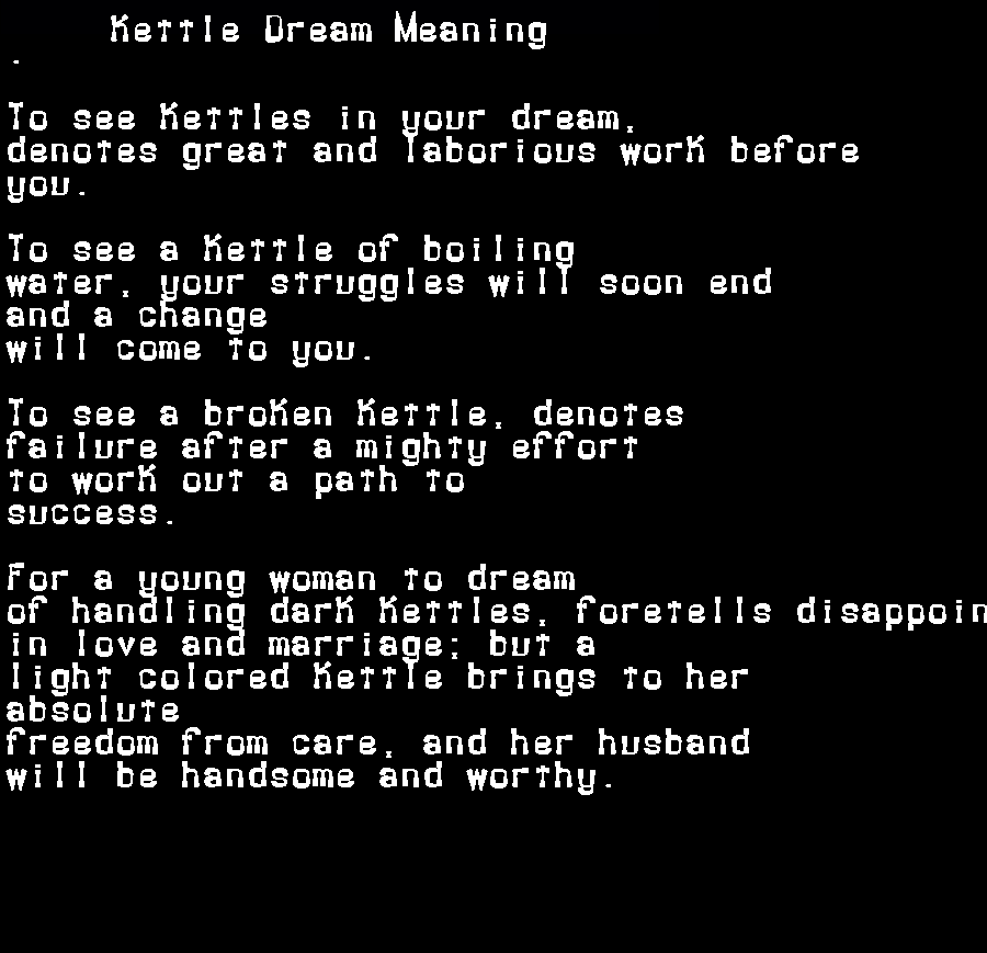 dream meanings kettle