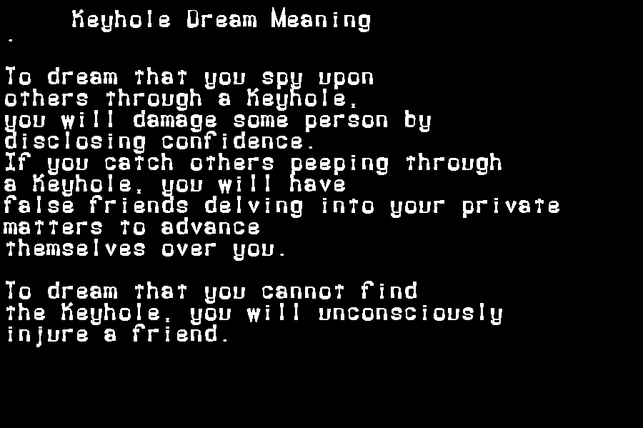 dream meanings keyhole