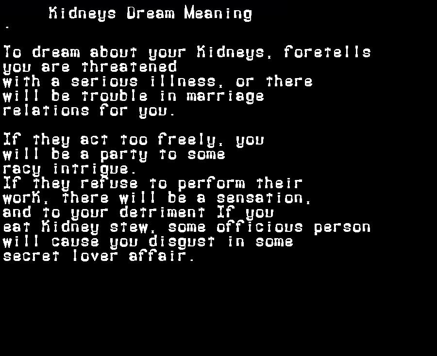 dream meanings kidneys
