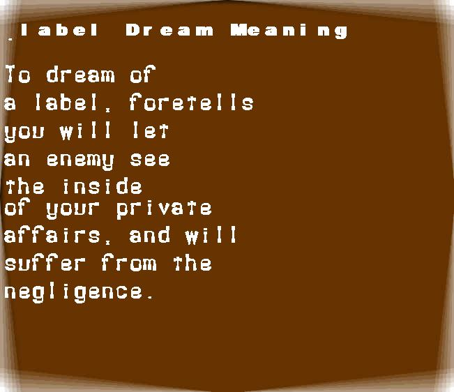 dream meanings label