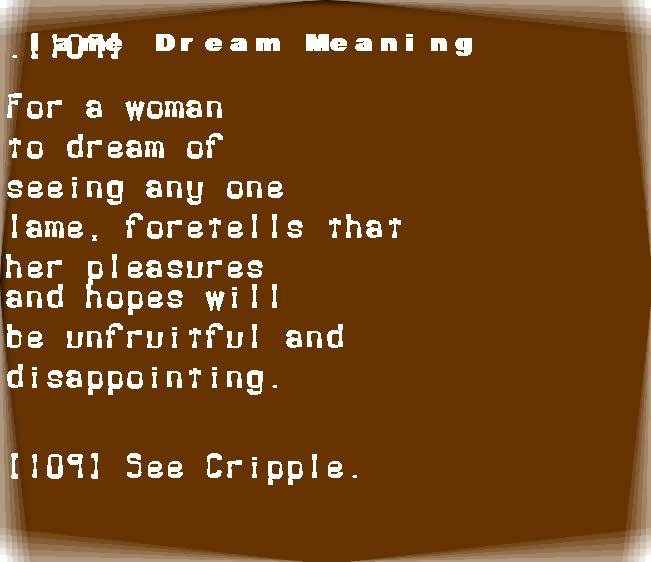 dream meanings lame