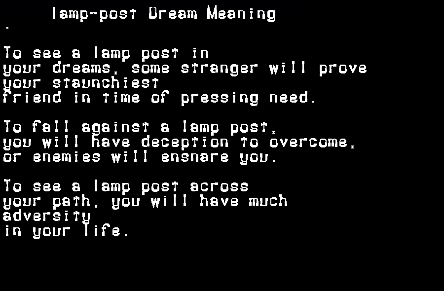 dream meanings lamp-post