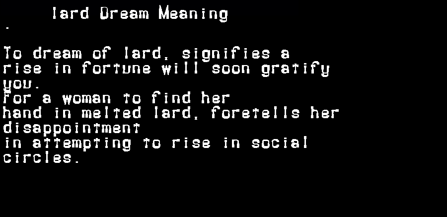 dream meanings lard
