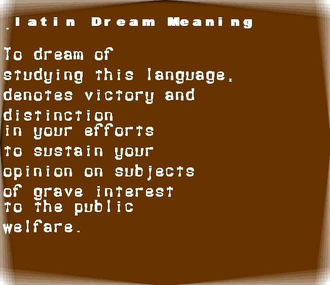 dream meanings latin