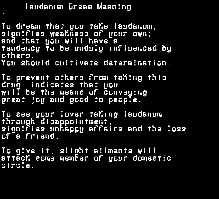 dream meanings laudanum