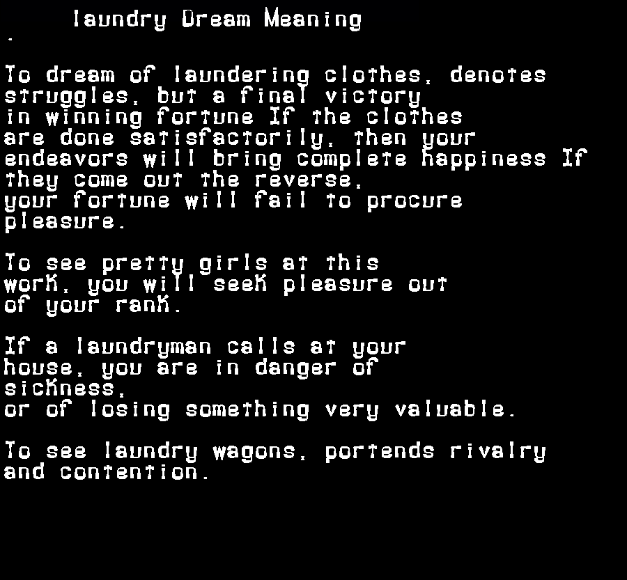 dream meanings laundry