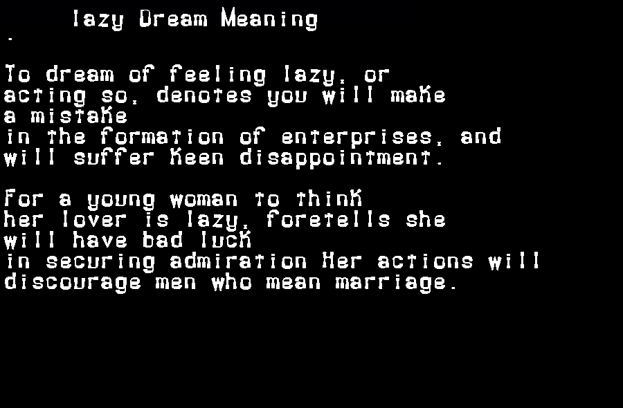 dream meanings lazy