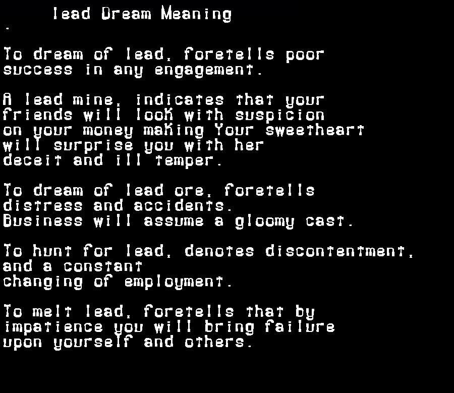 dream meanings lead