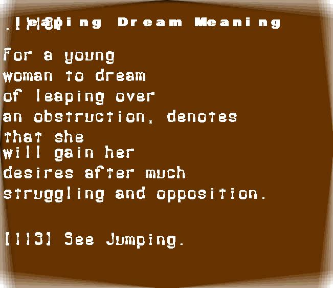 dream meanings leaping