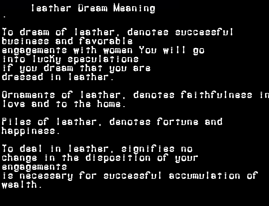 dream meanings leather