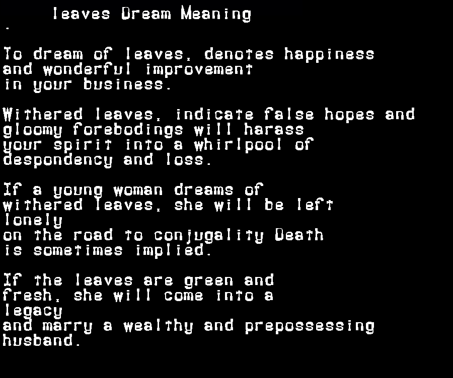 dream meanings leaves