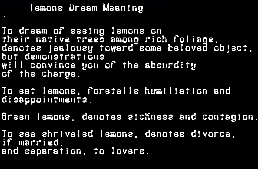 dream meanings lemons