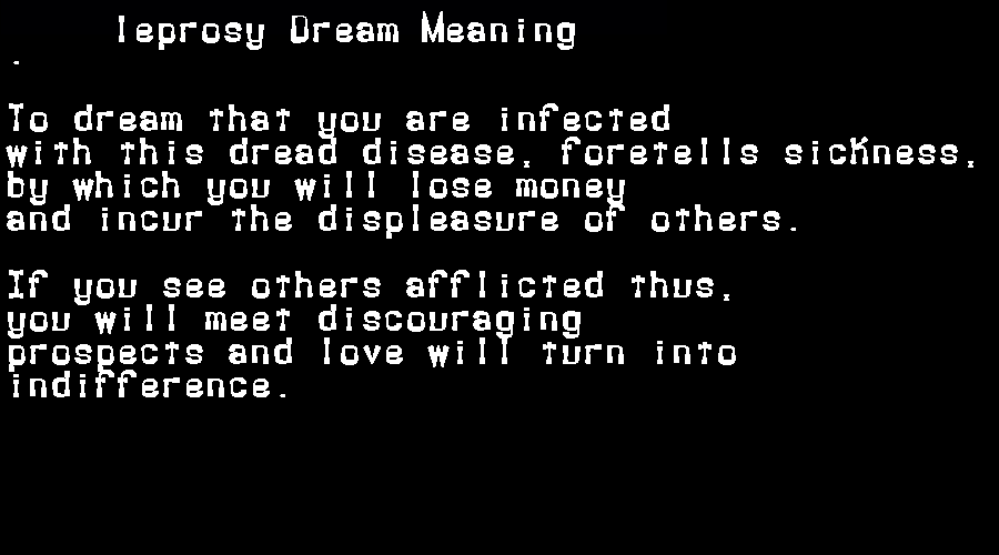 dream meanings leprosy