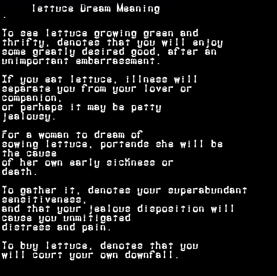 dream meanings lettuce