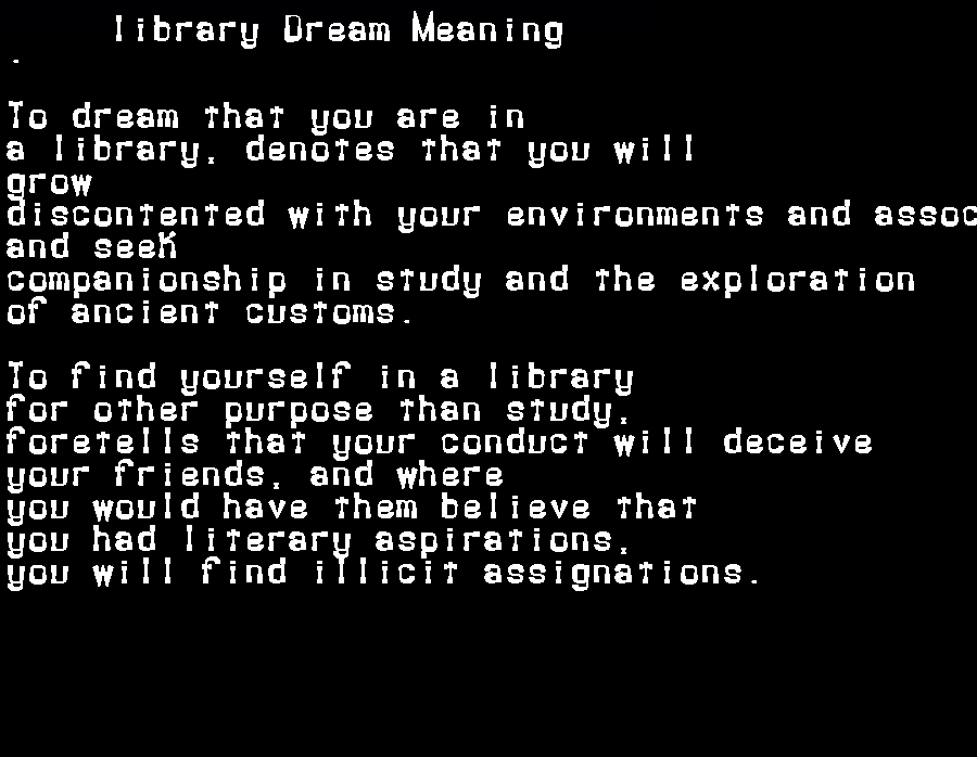 dream meanings library