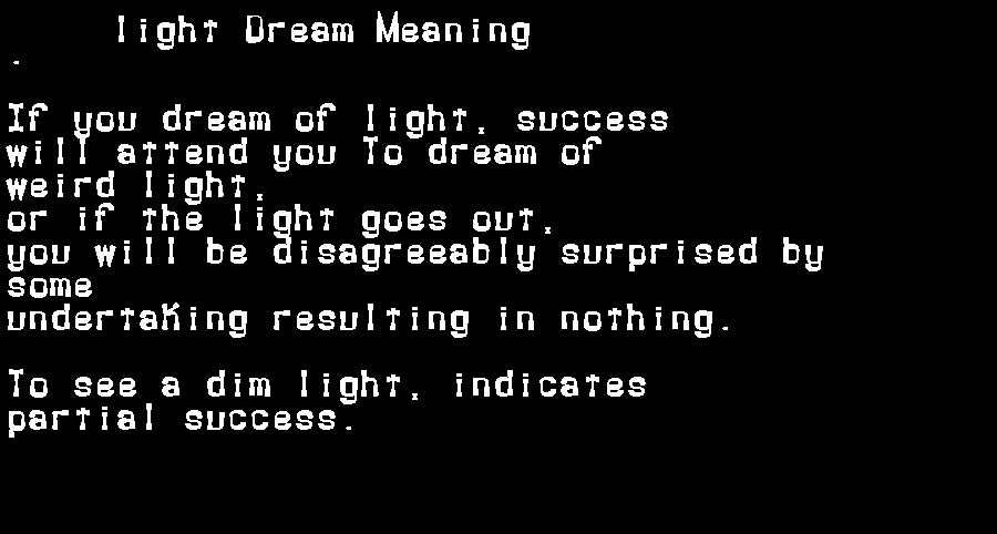 dream meanings light