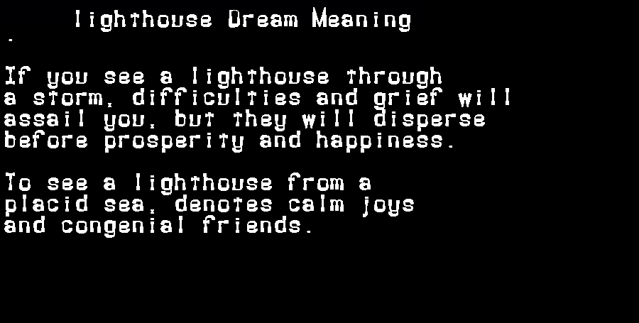 dream meanings lighthouse