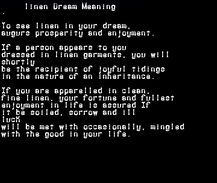 dream meanings linen