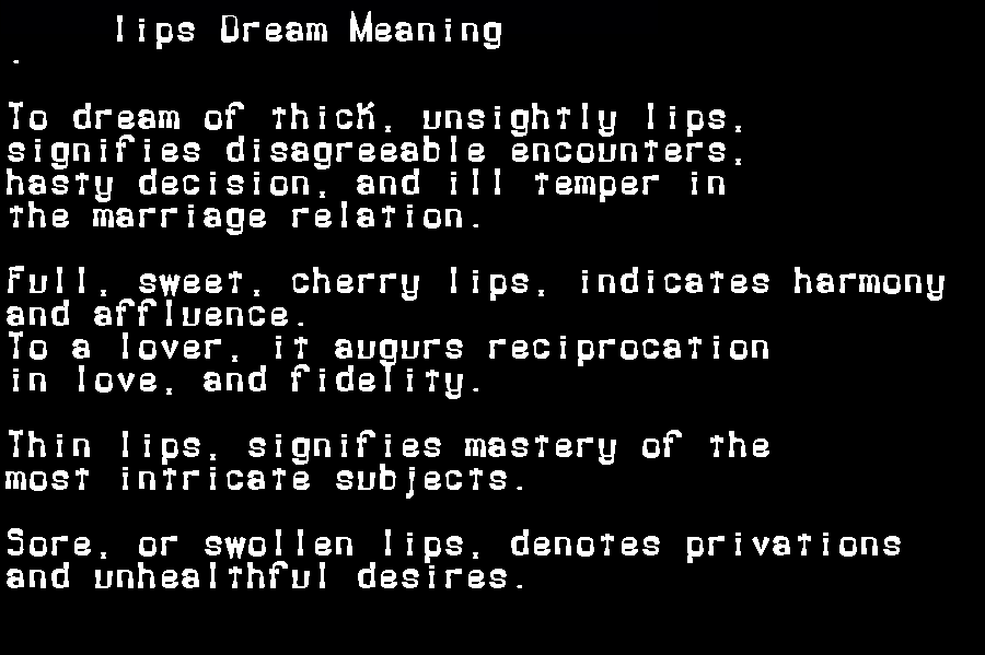 dream meanings lips