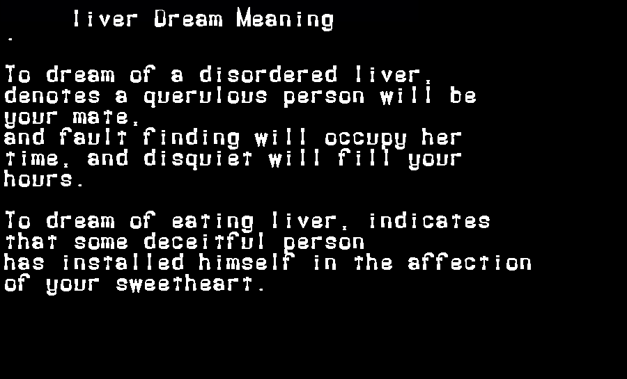 dream meanings liver