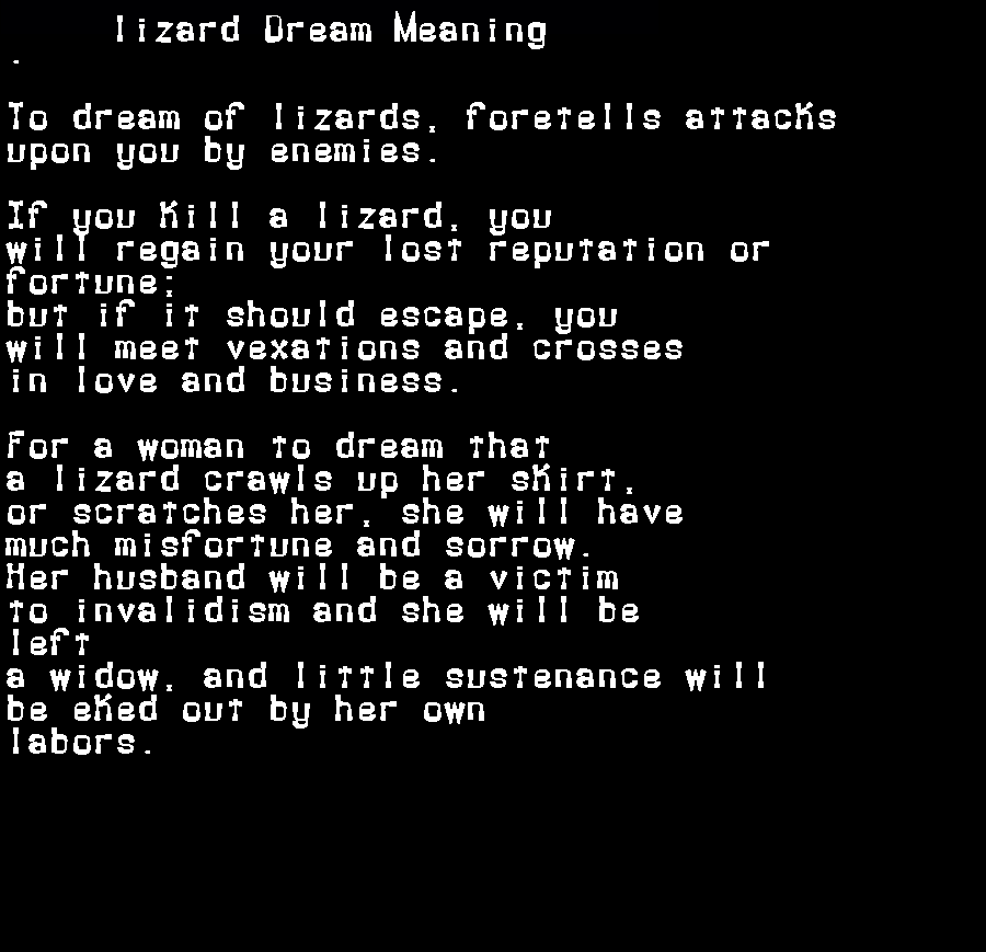 dream meanings lizard