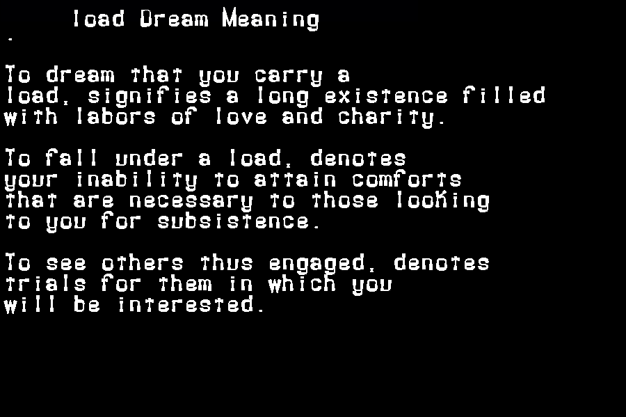 dream meanings load
