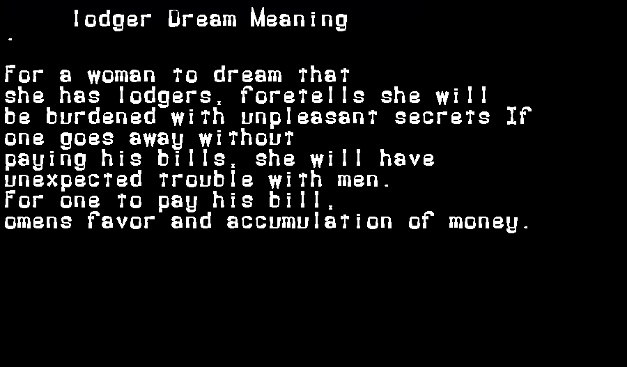 dream meanings lodger