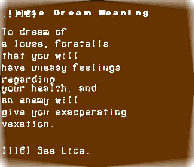 dream meanings louse
