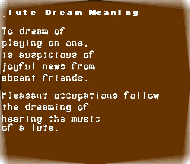 dream meanings lute