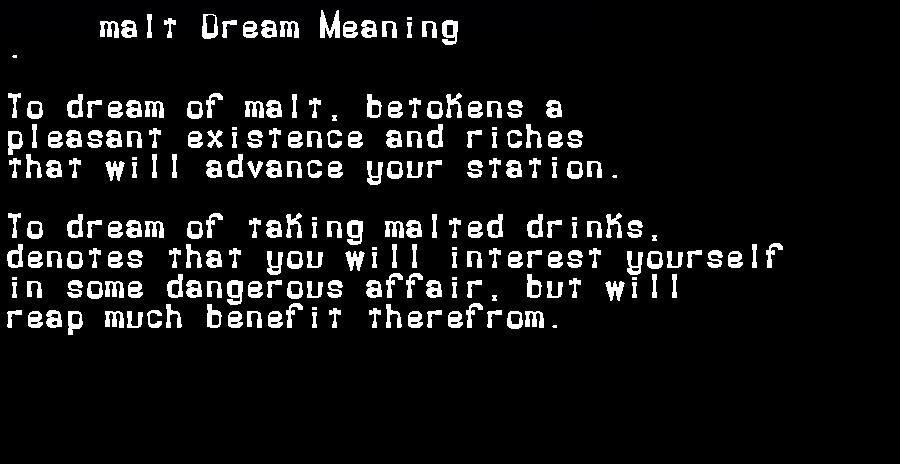 dream meanings malt