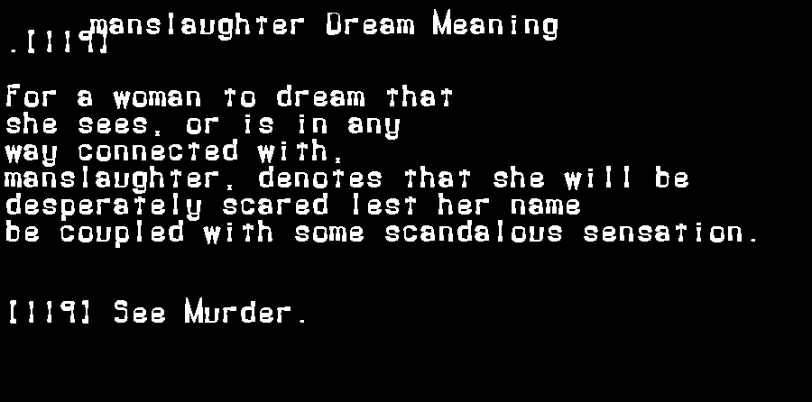 dream meanings manslaughter