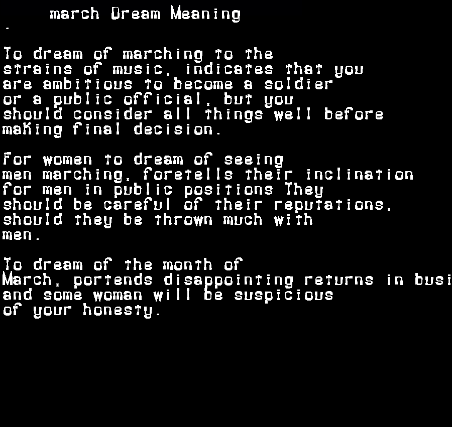 dream meanings march