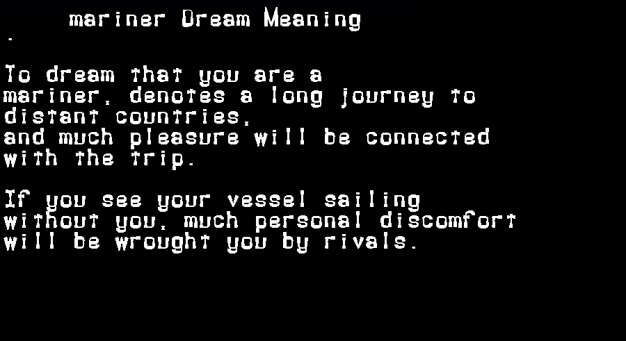 dream meanings mariner