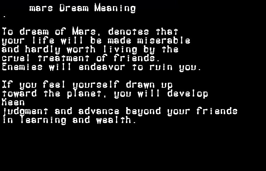dream meanings mars