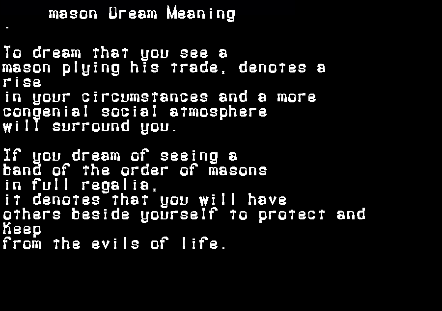 dream meanings mason