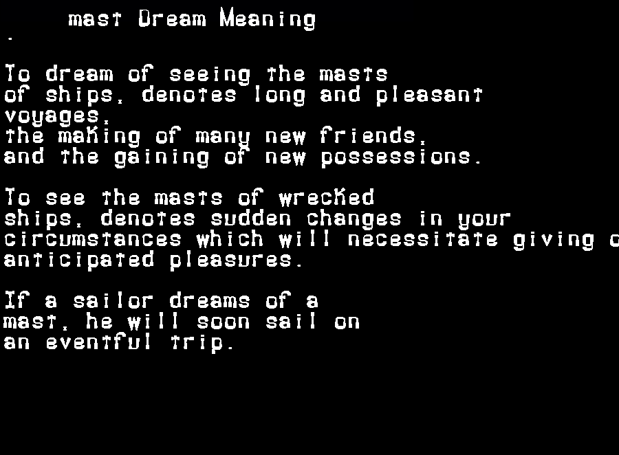 dream meanings mast