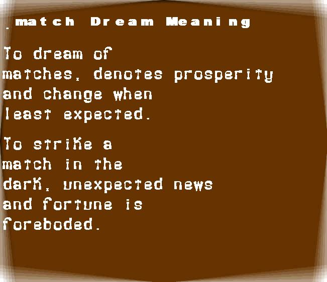 dream meanings match