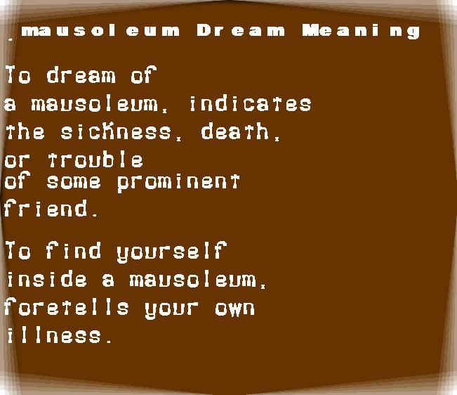 dream meanings mausoleum
