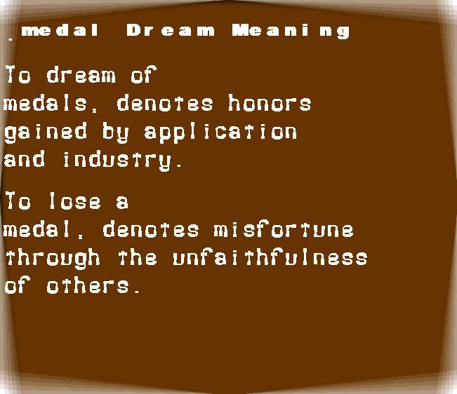dream meanings medal
