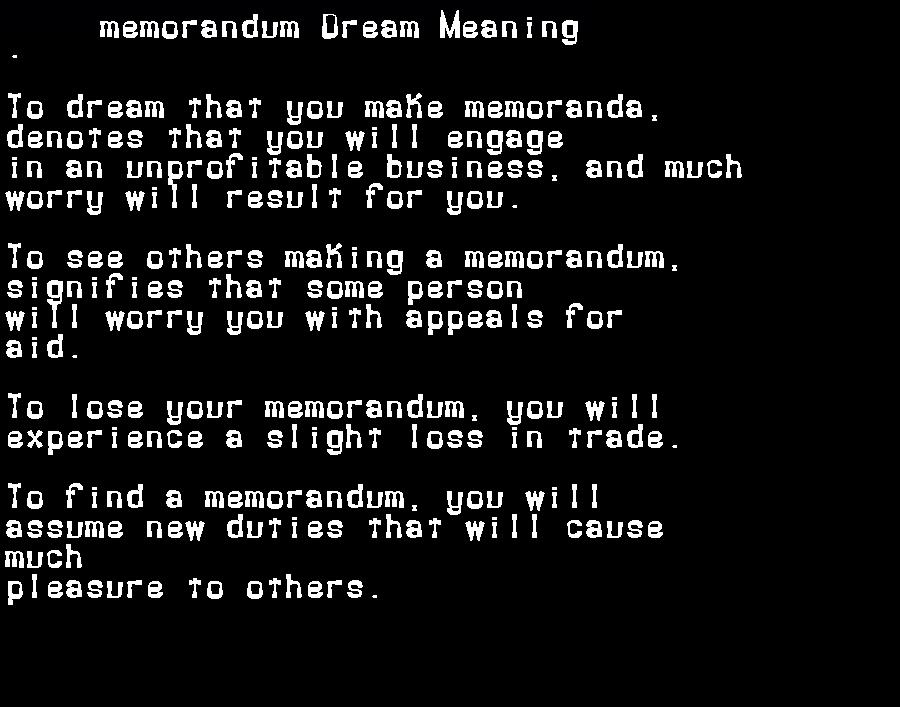 dream meanings memorandum