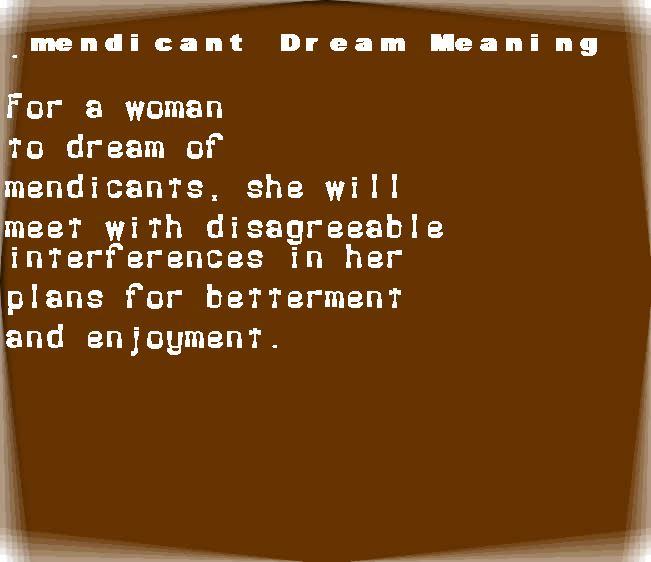 dream meanings mendicant