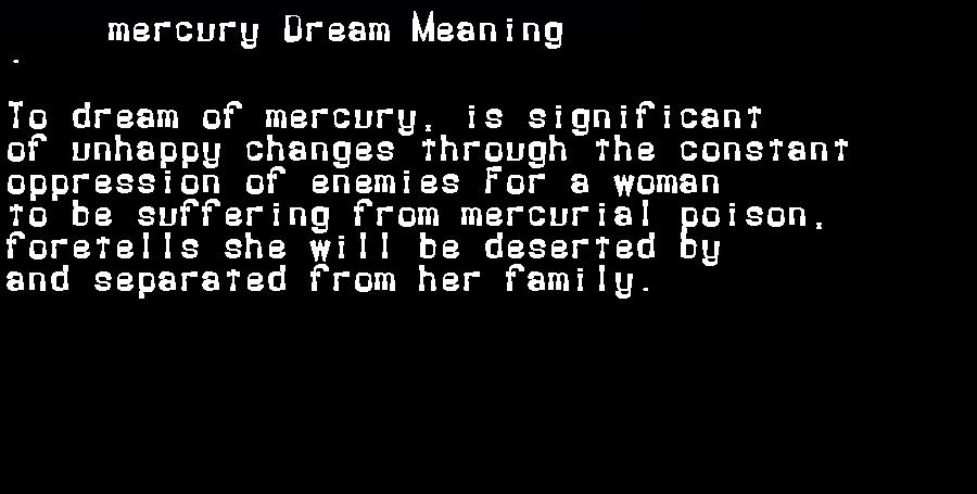 dream meanings mercury