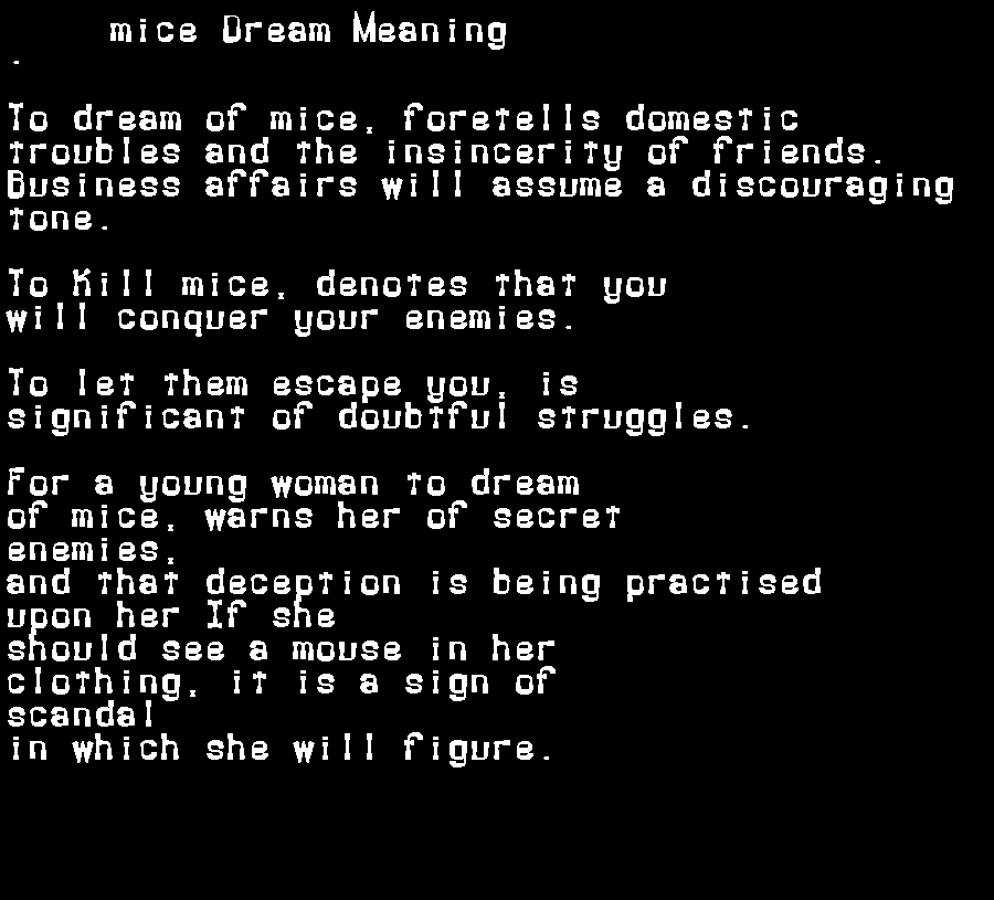 dream meanings mice